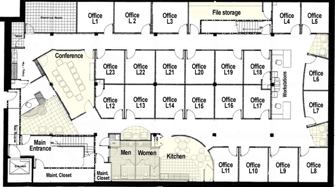 Lower Level office floor plan 17th & central executive suites on it