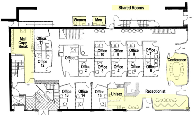 Office floor plan 17th central executive suites for Typical office floor plan